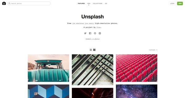 Unsplash, uno de los bancos de imágenes gratuitos.