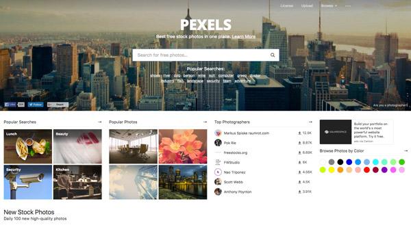 Pexels, uno de los bancos de imágenes gratuitos.