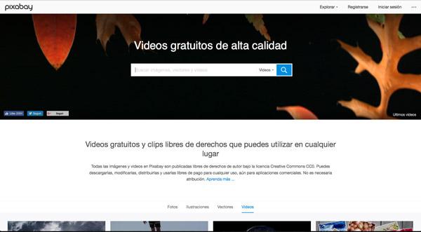 Descargar vídeos gratuitos en Pixabay