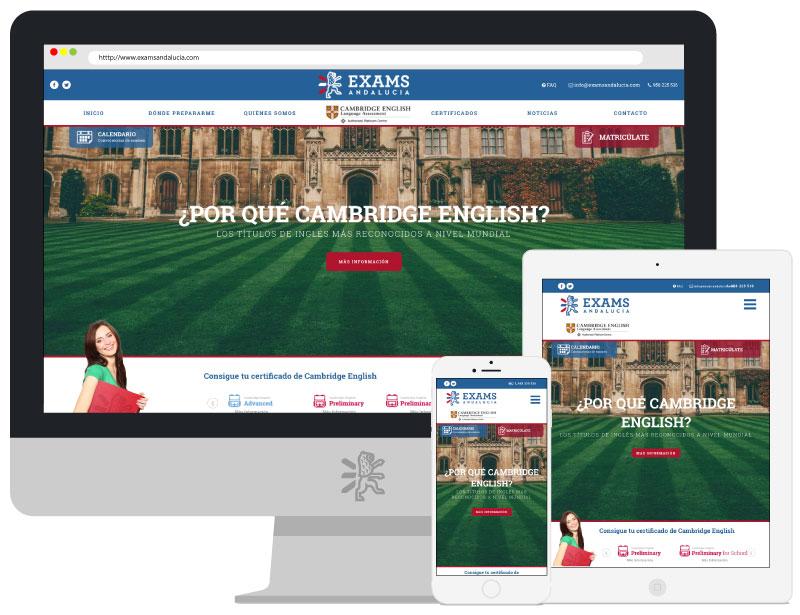 Página web de Exams Andalucía, uno de los proyectos destacados de Grupo Winecta y App&Web