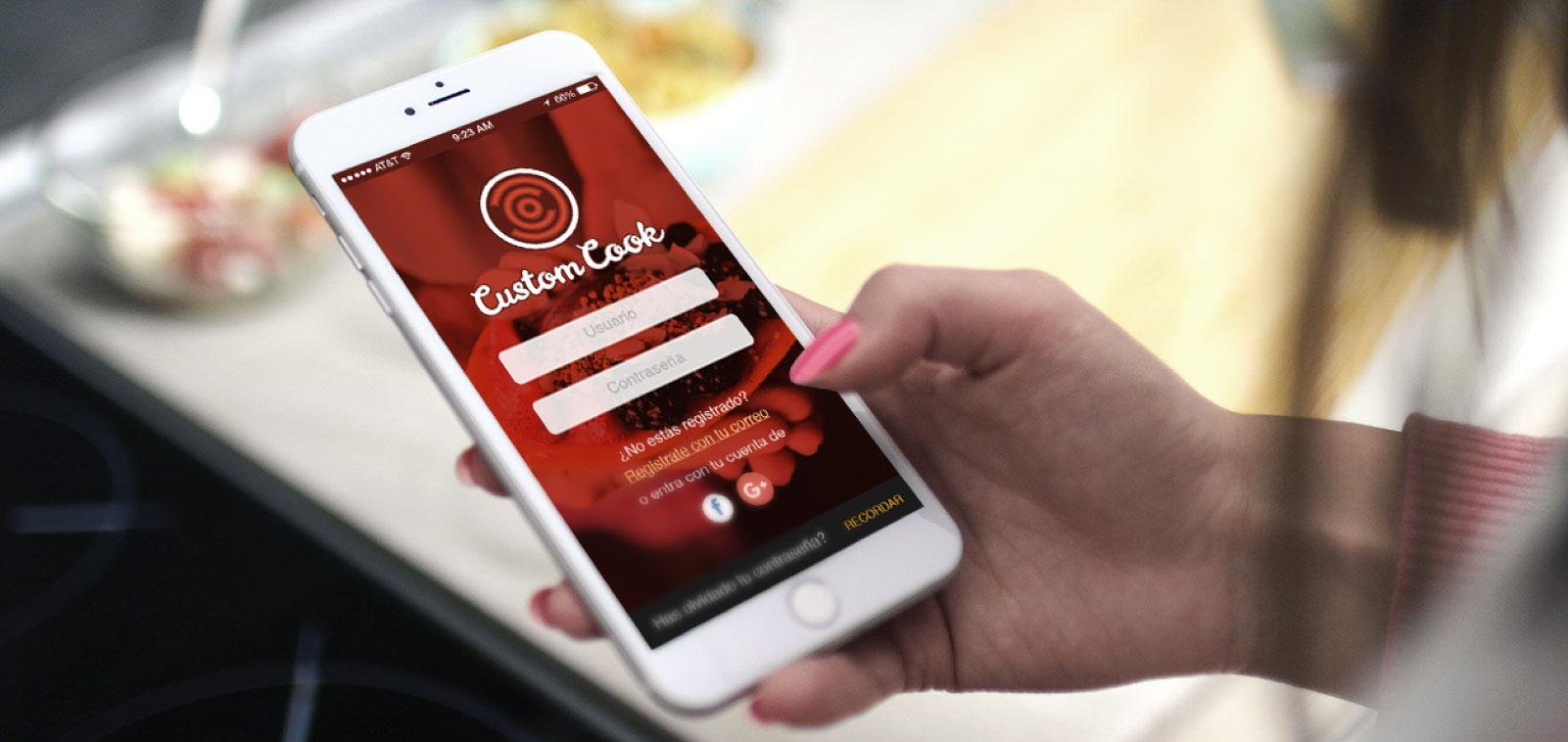 Inicio de la aplicación móvil de Custom Cook, uno de los proyectos destacados de App&Web
