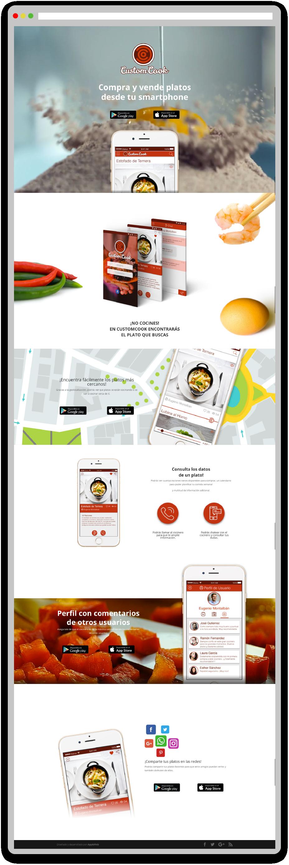 Desarrollo web de Custom Cook realizado por App&Web