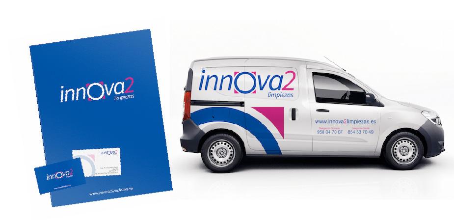 Diseño de identidad corporativa completo para Innova2 Limpiezas, uno de los proyectos destacados de App&Web