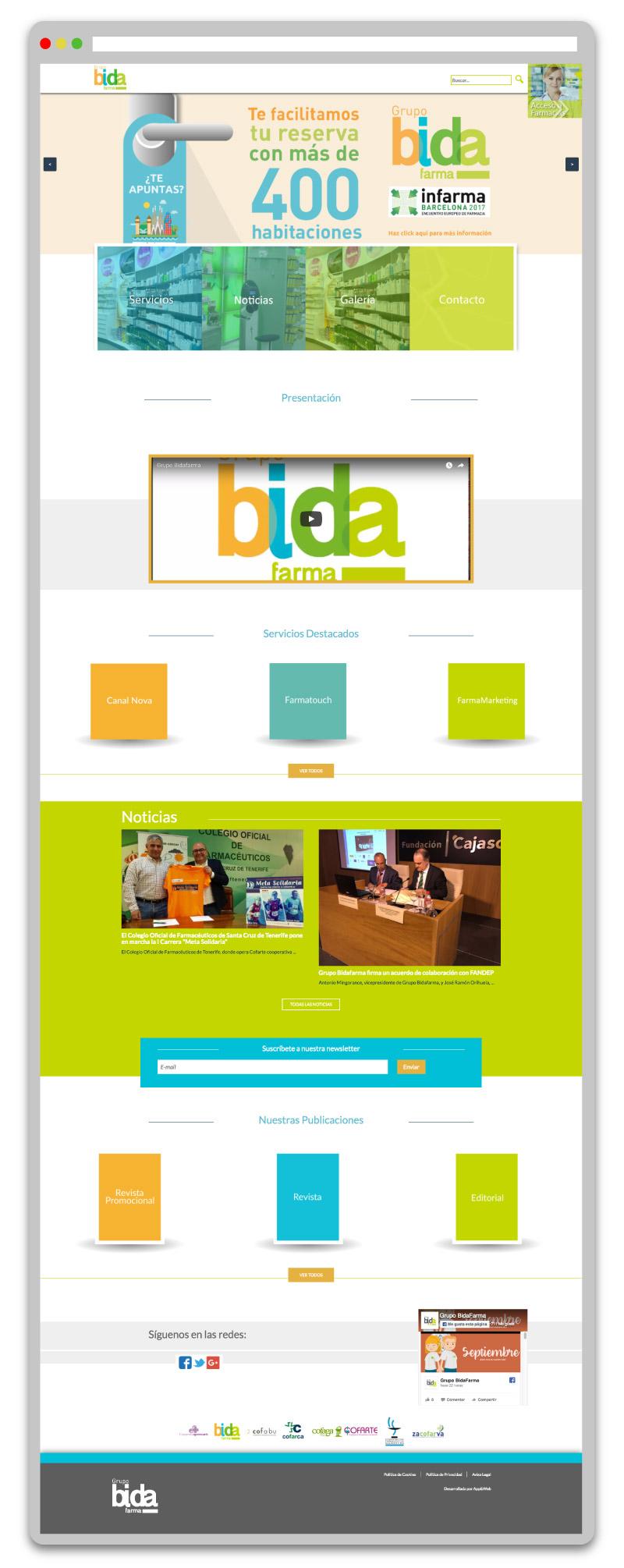 Rediseño de la web de Grupo Bida Farma, proyecto destacado de App&Web