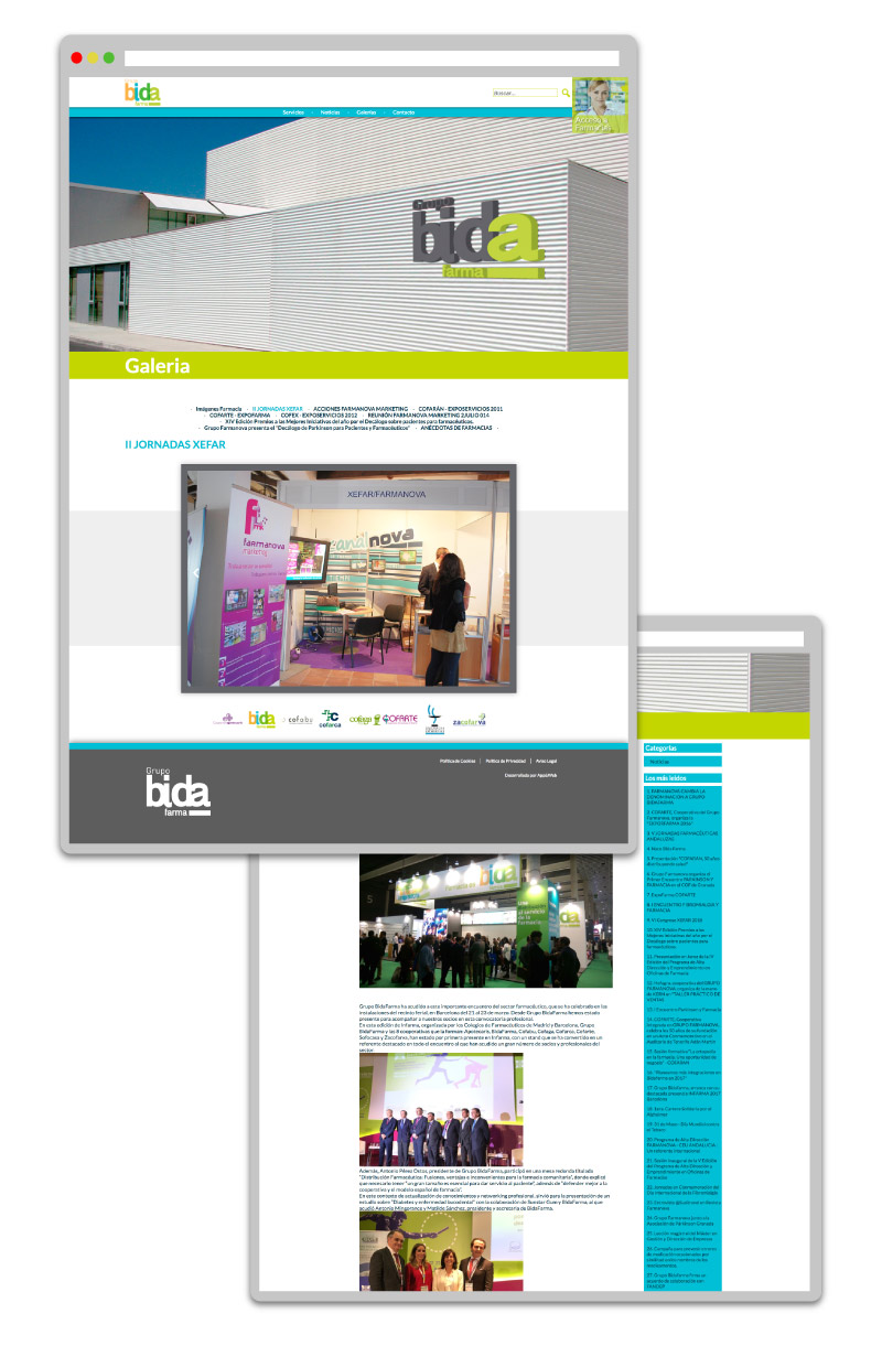 Nueva imagen de la web de Grupo Bida Farma realizado por App&Web