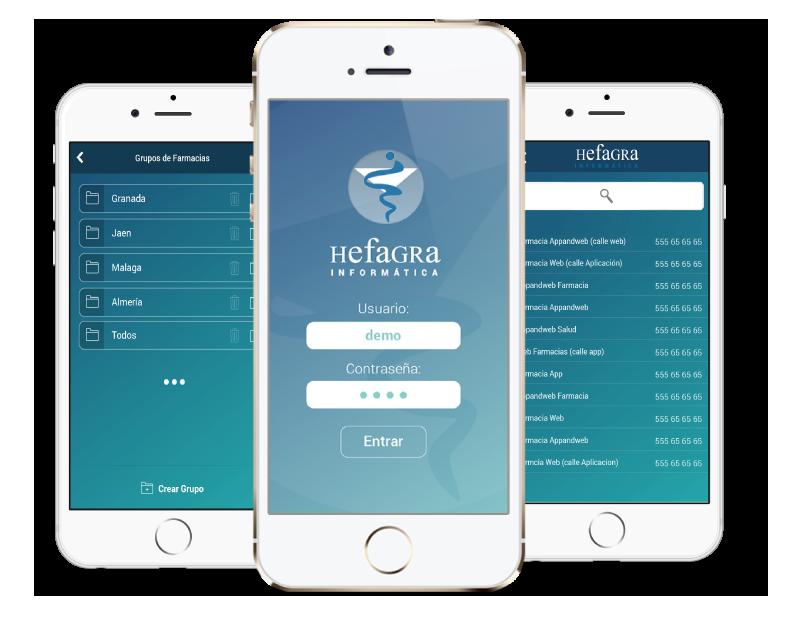 App nativa android y ios de Hefagra, desarrollada por App&Web