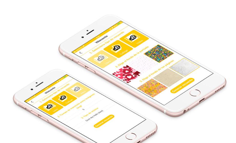 Imágenes del diseño de la app de Weevento