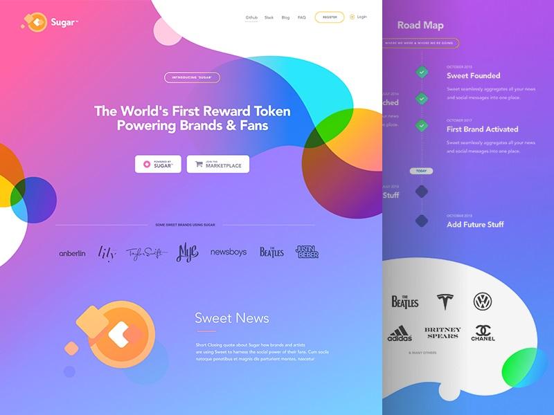 Formas geométricas en la web de Sugar, tendencias en diseño web